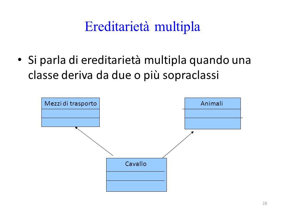 28 Ereditarietà multipla Si parla di ereditarietà multipla quando una classe deriva da due o più sopraclassi Mezzi di trasportoAnimali Cavallo