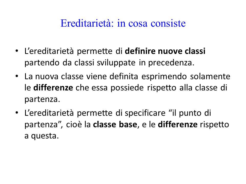 Ereditarietà: in cosa consiste L'ereditarietà permette di definire nuove classi partendo da classi sviluppate in precedenza. La nuova classe viene def