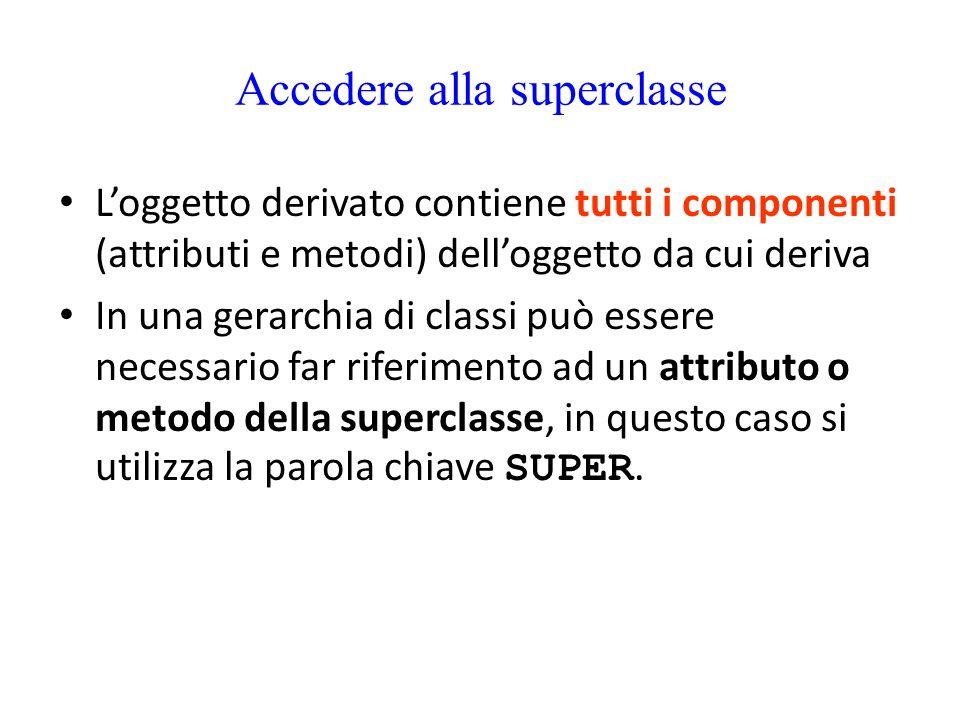 Accedere alla superclasse L'oggetto derivato contiene tutti i componenti (attributi e metodi) dell'oggetto da cui deriva In una gerarchia di classi pu