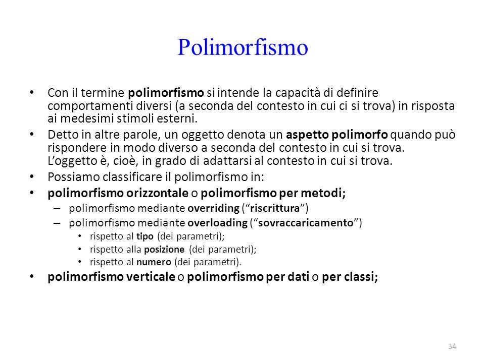 34 Polimorfismo Con il termine polimorfismo si intende la capacità di definire comportamenti diversi (a seconda del contesto in cui ci si trova) in ri