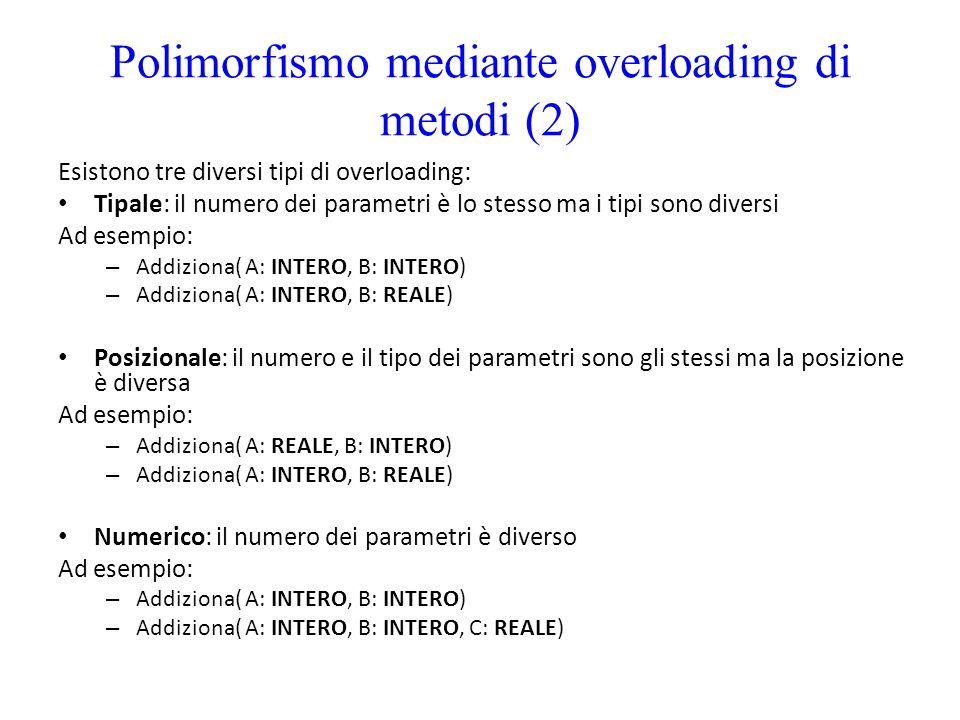 Polimorfismo mediante overloading di metodi (2) Esistono tre diversi tipi di overloading: Tipale: il numero dei parametri è lo stesso ma i tipi sono d