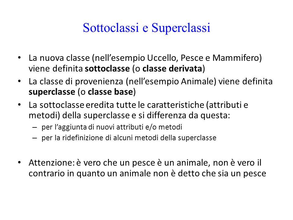 Sottoclassi e Superclassi La nuova classe (nell'esempio Uccello, Pesce e Mammifero) viene definita sottoclasse (o classe derivata) La classe di proven