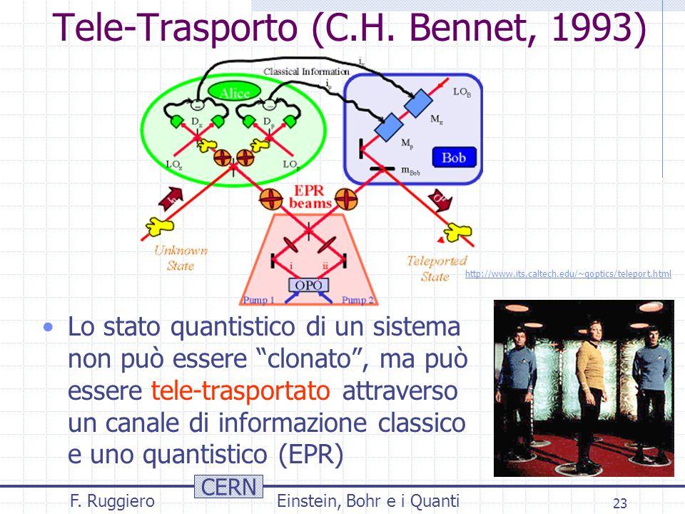 """CERN F. RuggieroEinstein, Bohr e i Quanti 23 Tele-Trasporto (C.H. Bennet, 1993) Lo stato quantistico di un sistema non può essere """"clonato"""", ma può es"""