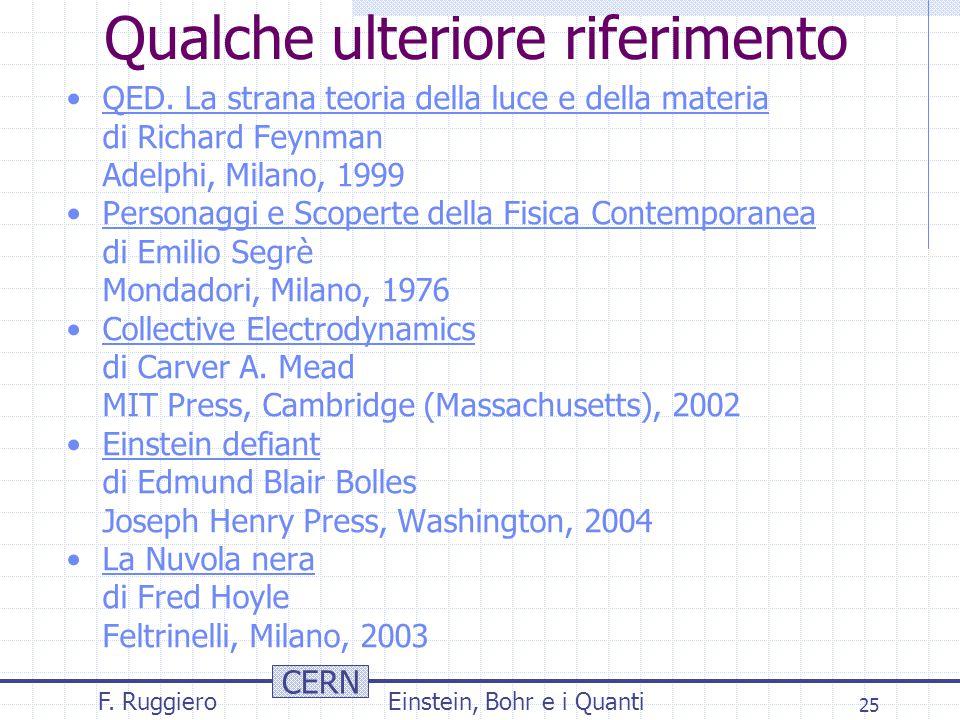 CERN F. RuggieroEinstein, Bohr e i Quanti 25 Qualche ulteriore riferimento QED.