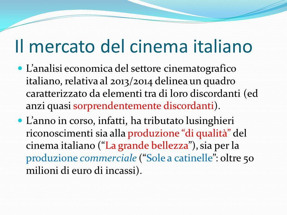 Il mercato del cinema italiano L'analisi economica del settore cinematografico italiano, relativa al 2013/2014 delinea un quadro caratterizzato da elementi tra di loro discordanti (ed anzi quasi sorprendentemente discordanti).