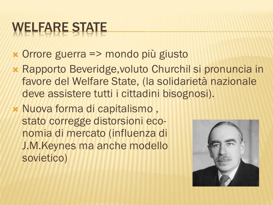  Orrore guerra => mondo più giusto  Rapporto Beveridge,voluto Churchil si pronuncia in favore del Welfare State, (la solidarietà nazionale deve assi