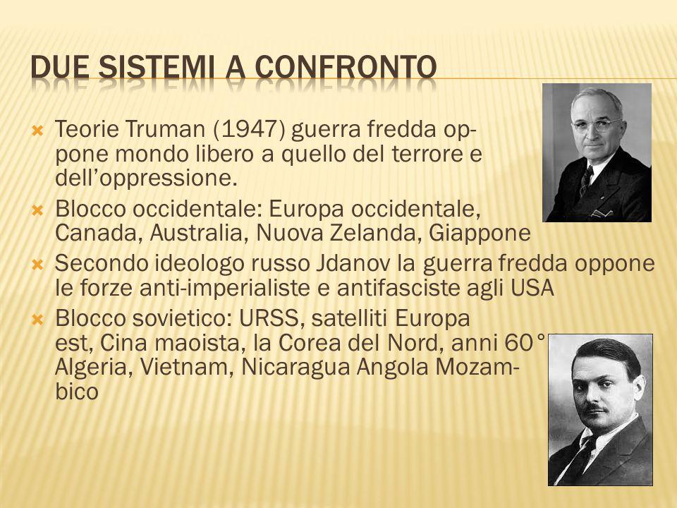 Teorie Truman (1947) guerra fredda op- pone mondo libero a quello del terrore e dell'oppressione.  Blocco occidentale: Europa occidentale, Canada,