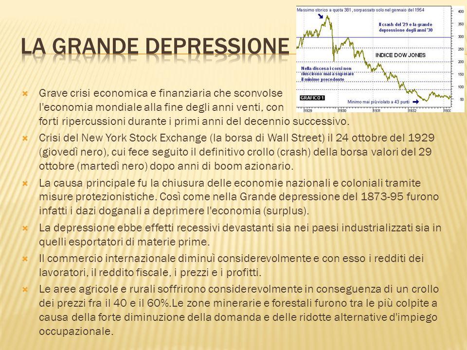  Grave crisi economica e finanziaria che sconvolse l'economia mondiale alla fine degli anni venti, con forti ripercussioni durante i primi anni del d