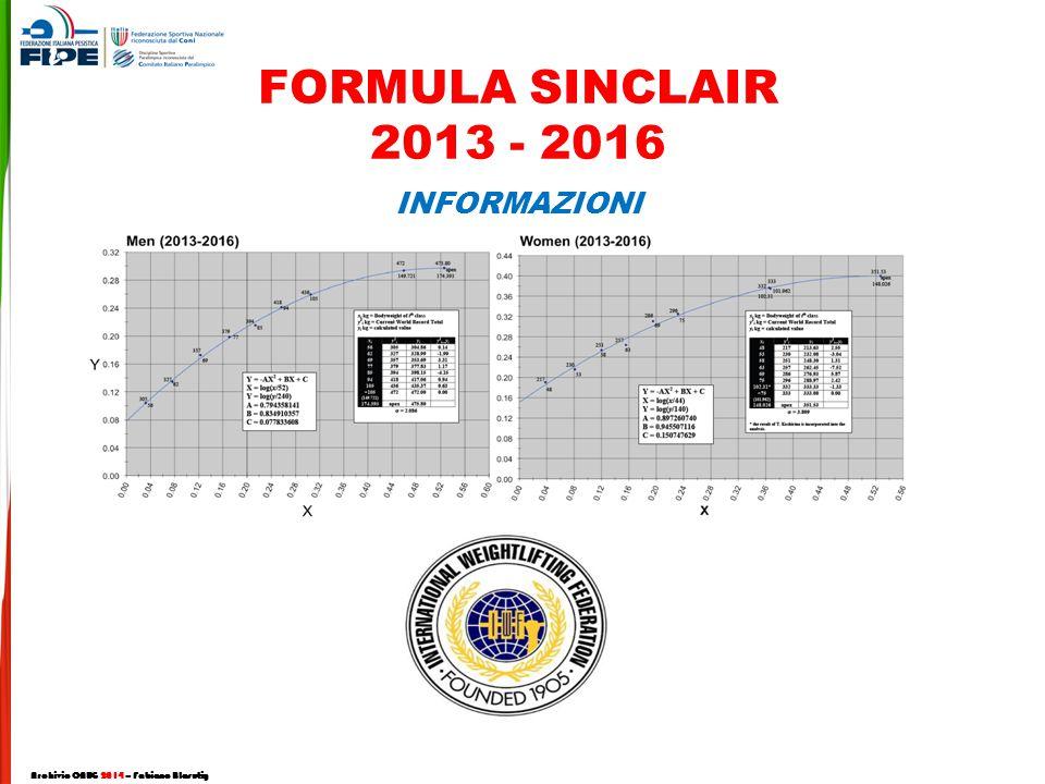 FORMULA SINCLAIR 2013 - 2016 INFORMAZIONI Archivio CNUG 2014 – Fabiano Blasutig