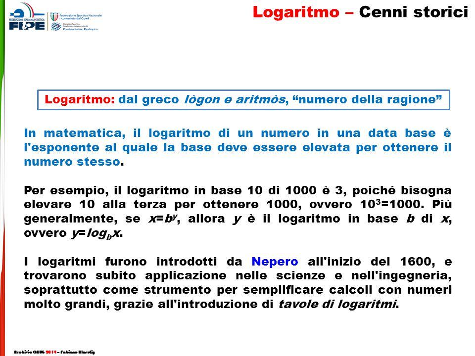 In matematica, il logaritmo di un numero in una data base è l esponente al quale la base deve essere elevata per ottenere il numero stesso.