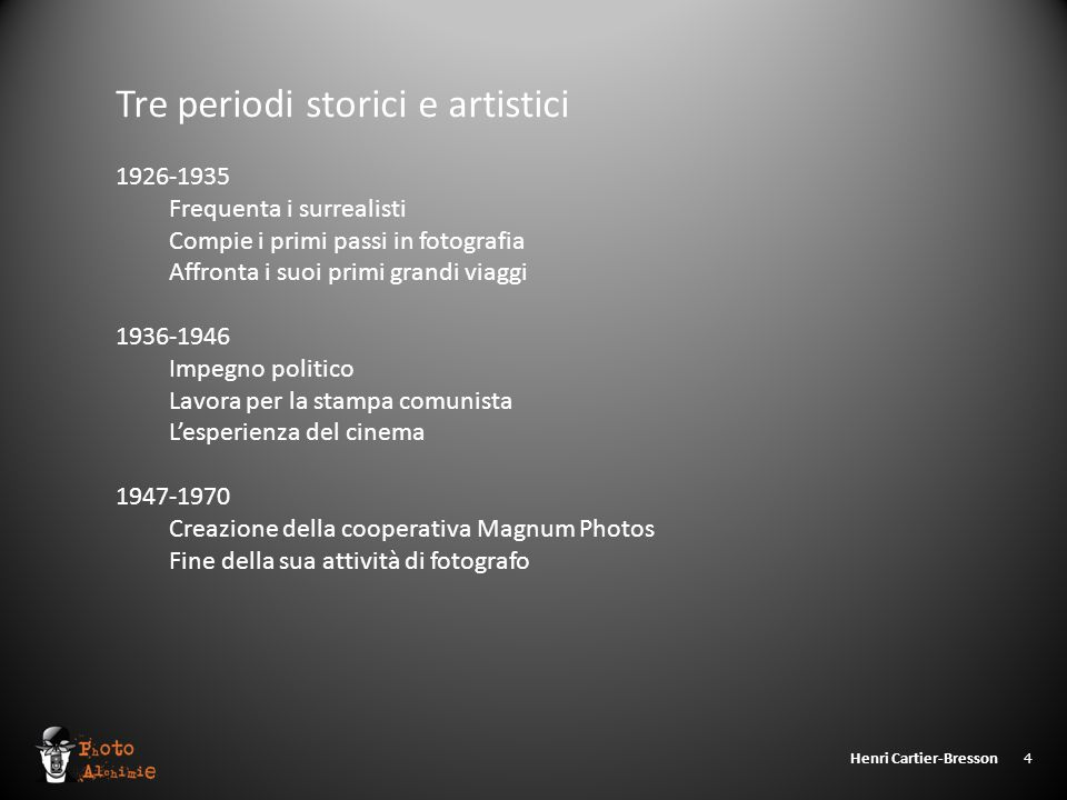 Henri Cartier-Bresson 4 Tre periodi storici e artistici 1926-1935 Frequenta i surrealisti Compie i primi passi in fotografia Affronta i suoi primi gra