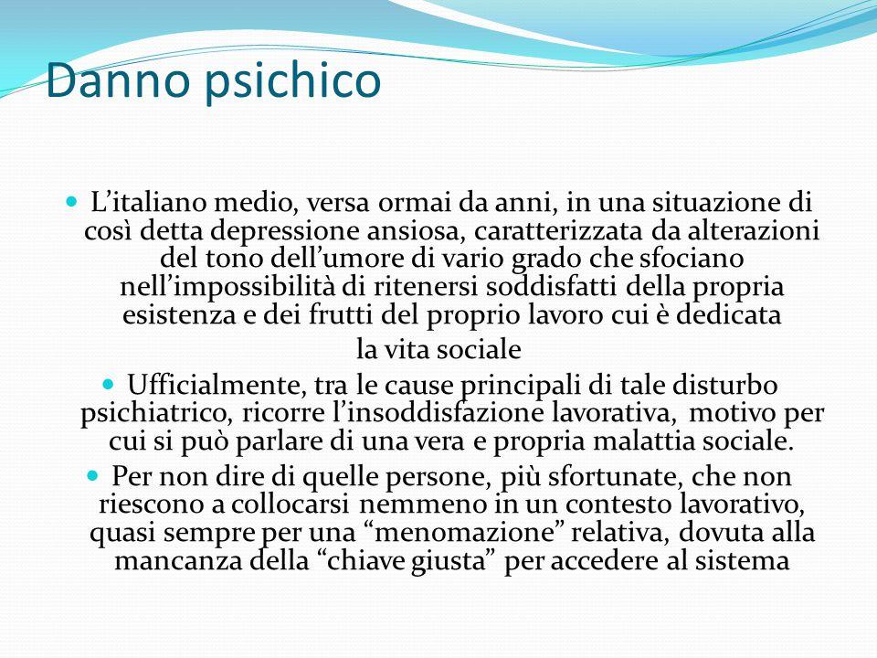 Danno psichico L'italiano medio, versa ormai da anni, in una situazione di così detta depressione ansiosa, caratterizzata da alterazioni del tono dell