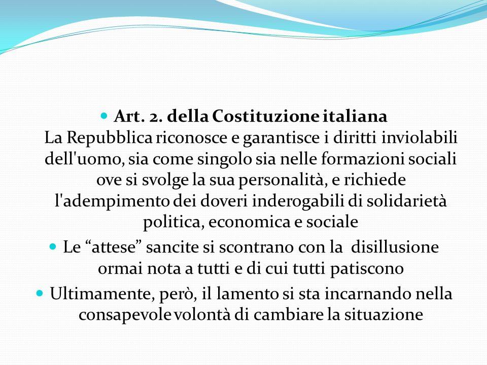 Art. 2. della Costituzione italiana La Repubblica riconosce e garantisce i diritti inviolabili dell'uomo, sia come singolo sia nelle formazioni social