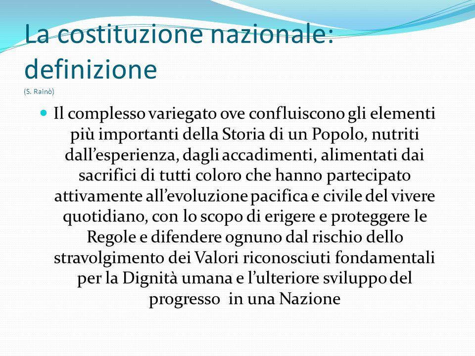La costituzione nazionale: definizione (S. Rainò) Il complesso variegato ove confluiscono gli elementi più importanti della Storia di un Popolo, nutri