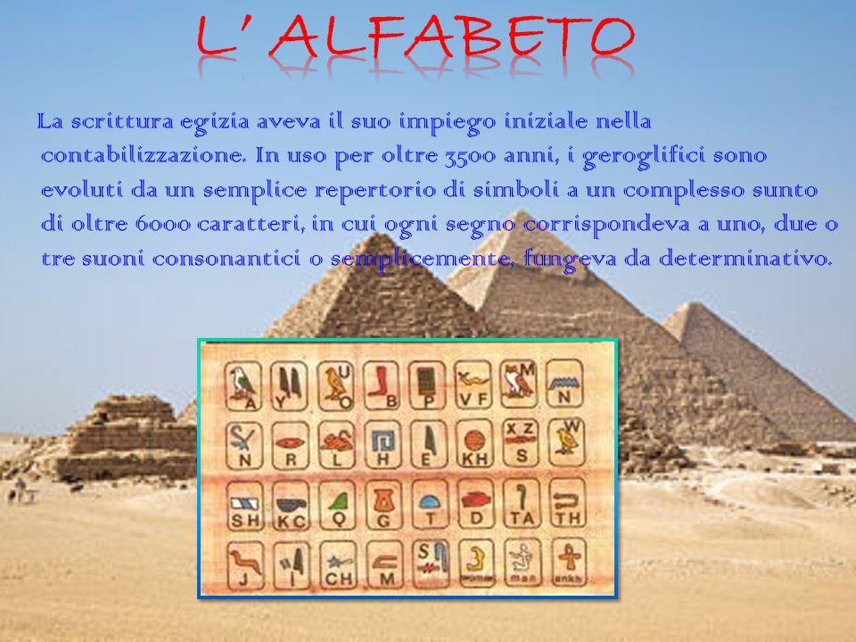 La scrittura egizia aveva il suo impiego iniziale nella contabilizzazione.