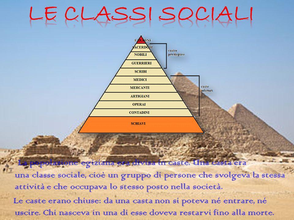 La popolazione egiziana era divisa in caste. Una casta era una classe sociale, cioè un gruppo di persone che svolgeva la stessa attività e che occupav