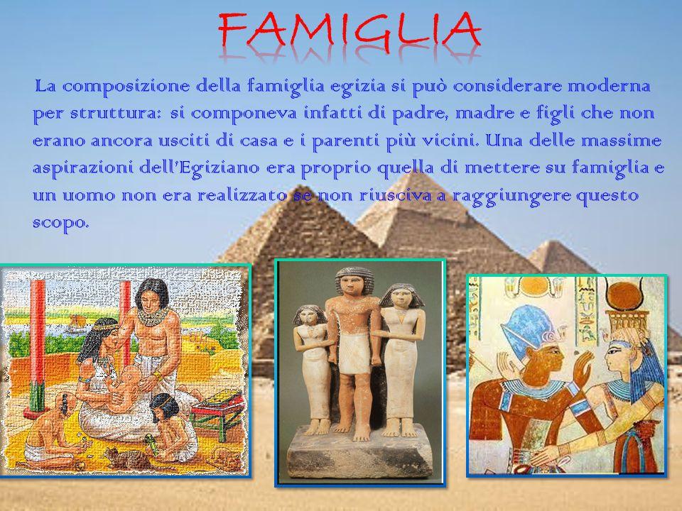La composizione della famiglia egizia si può considerare moderna per struttura: si componeva infatti di padre, madre e figli che non erano ancora usciti di casa e i parenti più vicini.
