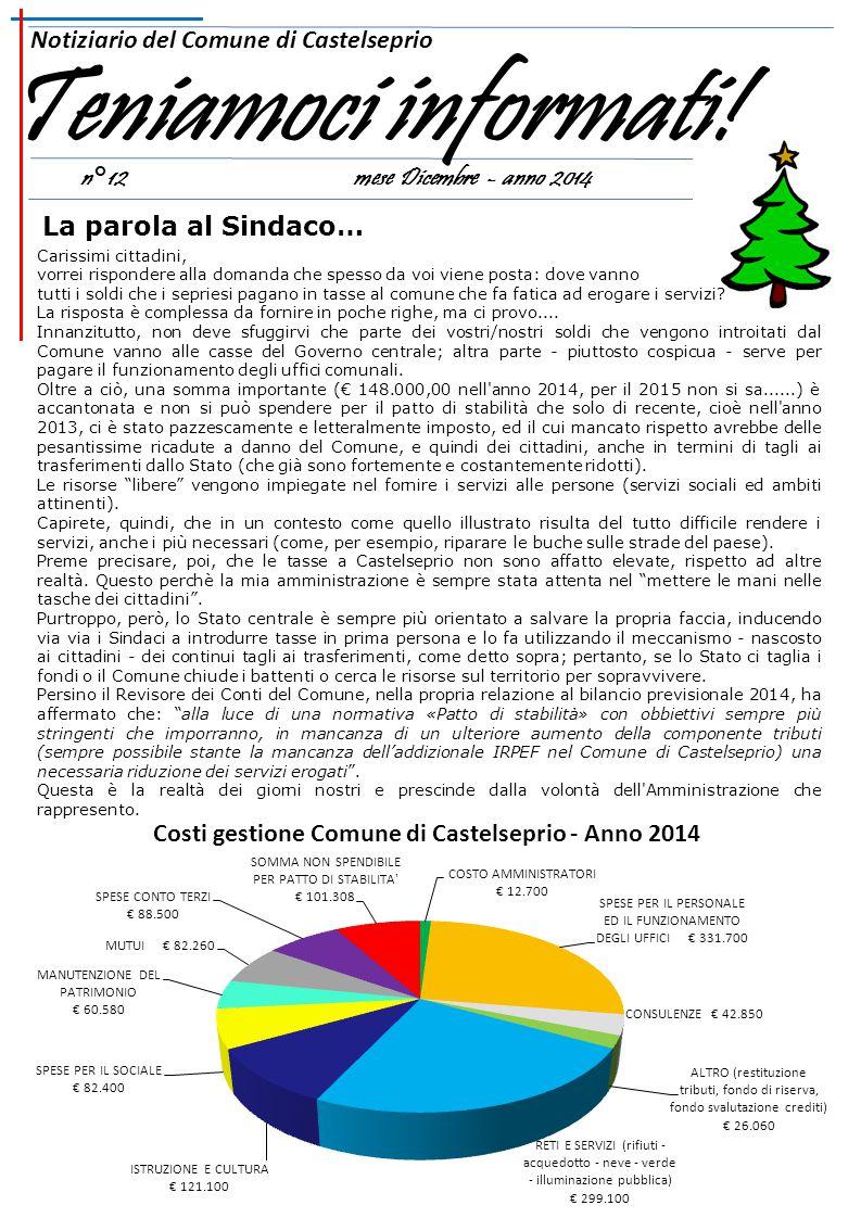 n°12 mese Dicembre - anno 2014 Notiziario del Comune di Castelseprio Teniamoci informati.