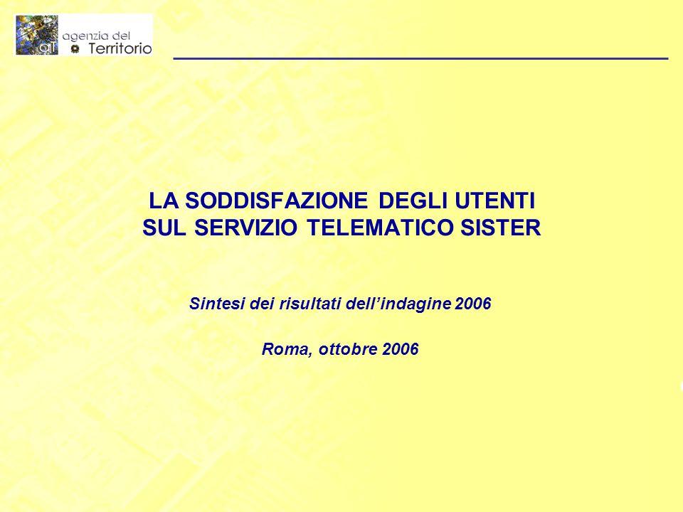 LA SODDISFAZIONE DEGLI UTENTI SUL SERVIZIO TELEMATICO SISTER Sintesi dei risultati dell'indagine 2006 Roma, ottobre 2006