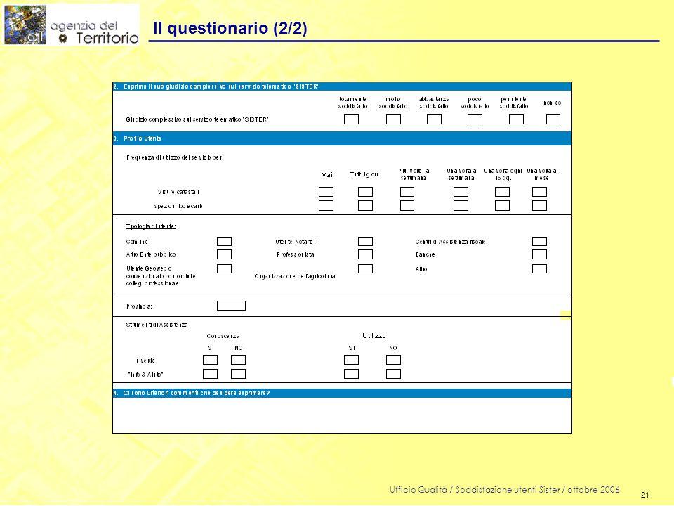 21 Ufficio Qualità / Soddisfazione utenti Sister / ottobre 2006 21 Il questionario (2/2)