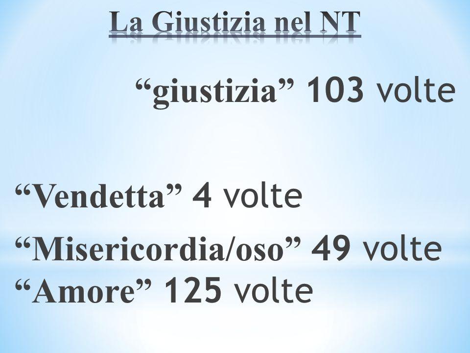 giustizia 103 volte Vendetta 4 volte Misericordia/oso 49 volte Amore 125 volte