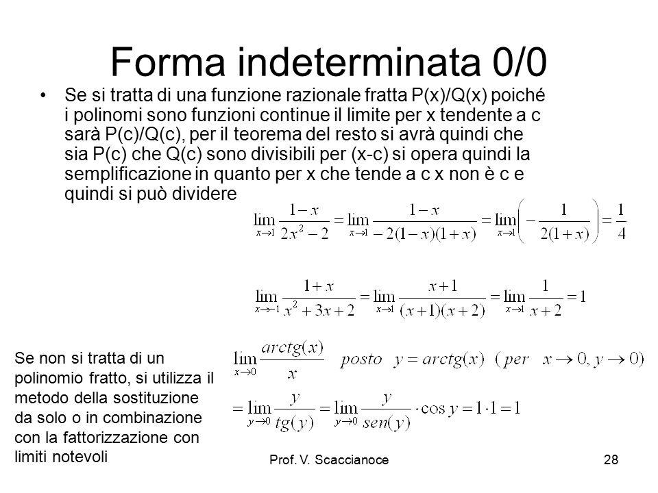 Forma indeterminata 0*∞ In certi casi è sufficiente operare delle semplificazioni dopo aver spostato i fattori in modo da poterli semplificare Se non si tratta di un polinomio fratto, si utilizza il metodo della sostituzione da solo o in combinazione con la fattorizzazione con limiti notevoli Prof.