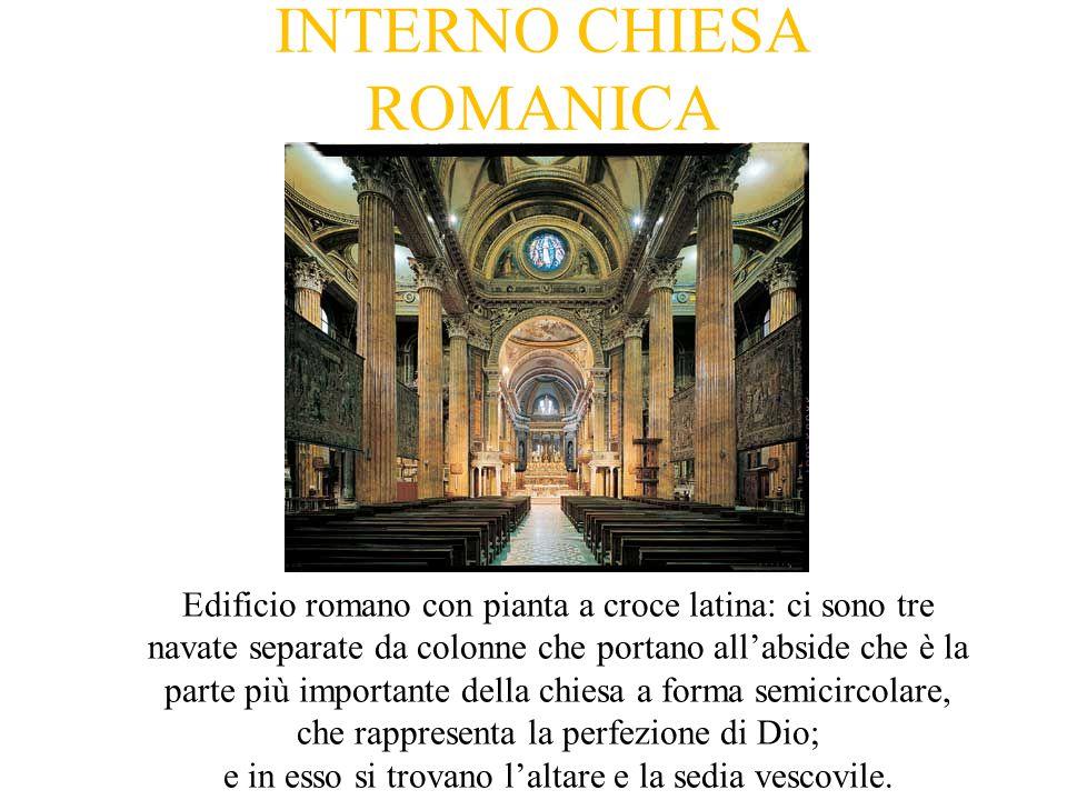 INTERNO CHIESA ROMANICA Edificio romano con pianta a croce latina: ci sono tre navate separate da colonne che portano all'abside che è la parte più importante della chiesa a forma semicircolare, che rappresenta la perfezione di Dio; e in esso si trovano l'altare e la sedia vescovile.
