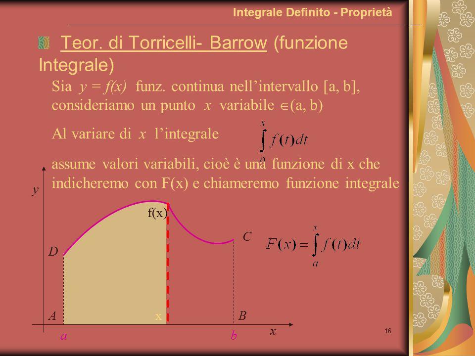 15 Integrale Definito - Calcolo dell'integrale Allora, riprendendo gli esempi precedenti