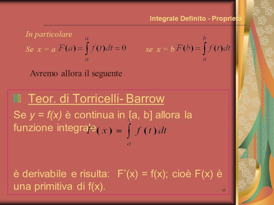 16 Integrale Definito - Proprietà Teor.