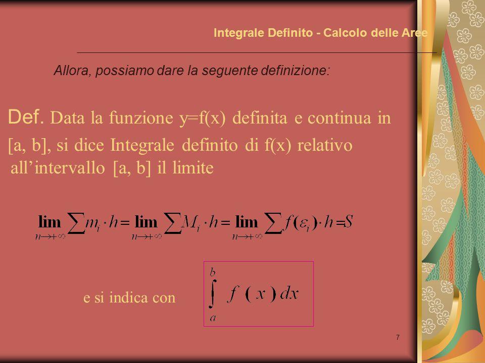 6 Integrale Definito - Calcolo delle Aree Allora,indicando con f(  i ) il valore della funzione in un punto qualsiasi dell'intervallo i-esimo, tenendo conto del teorema del confronto e del teorema 1 B x y C A ba D mimi MiMi ii f(  i ) avremo che:
