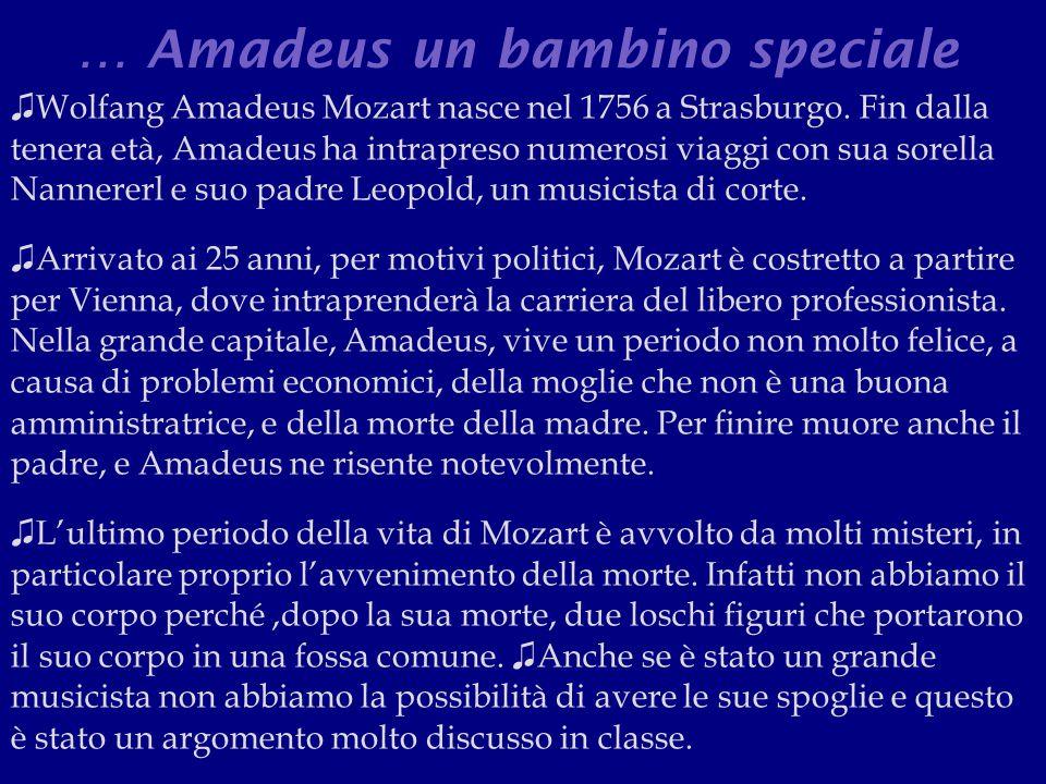 … Amadeus un bambino speciale ♫ Wolfang Amadeus Mozart nasce nel 1756 a Strasburgo.