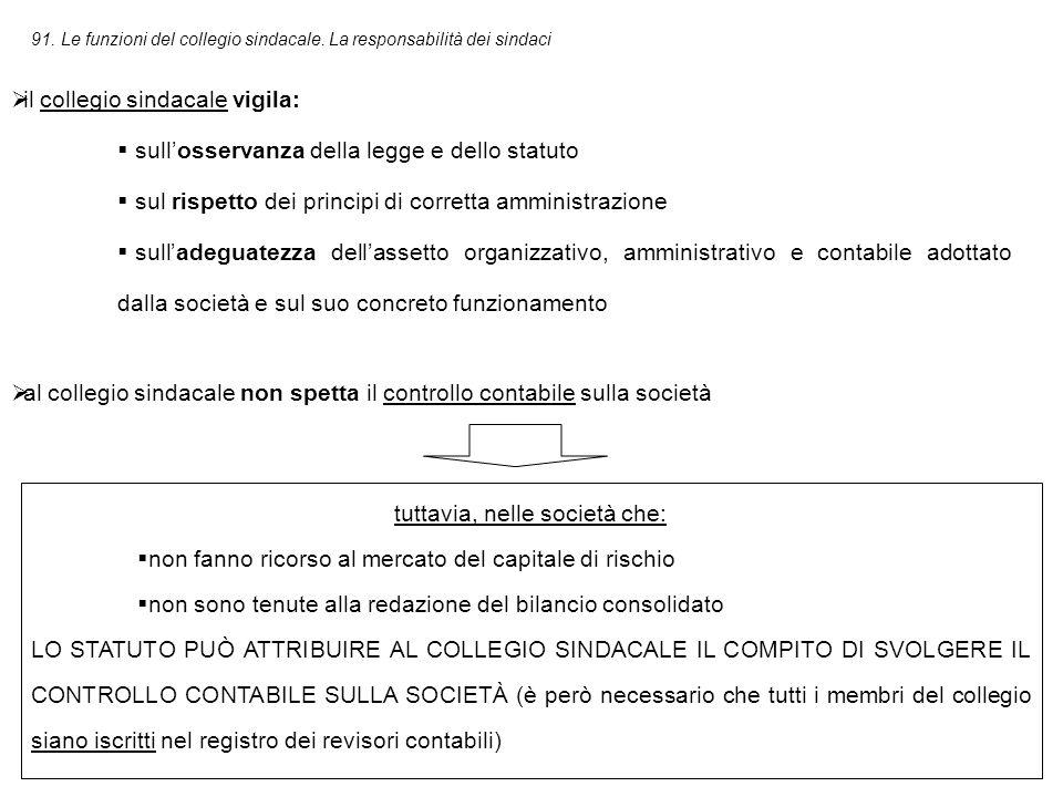 91.Le funzioni del collegio sindacale.