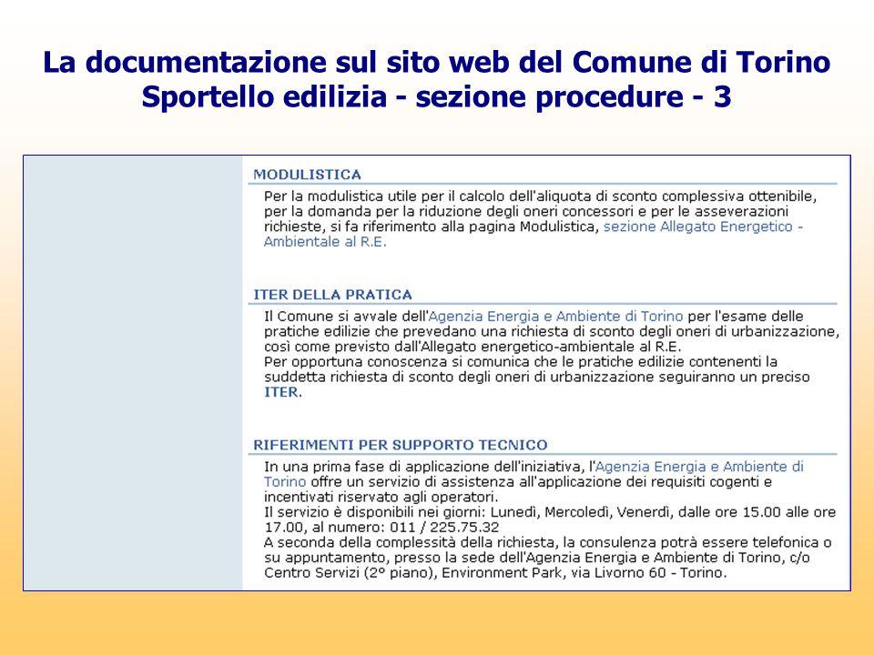 La documentazione sul sito web del Comune di Torino Sportello edilizia - sezione procedure - 3
