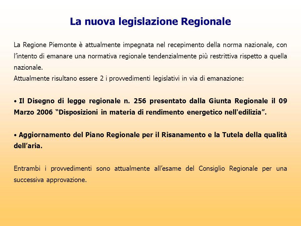 La nuova legislazione Regionale La Regione Piemonte è attualmente impegnata nel recepimento della norma nazionale, con l'intento di emanare una normat