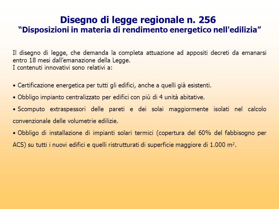 """Disegno di legge regionale n. 256 """"Disposizioni in materia di rendimento energetico nell'edilizia"""" Il disegno di legge, che demanda la completa attuaz"""