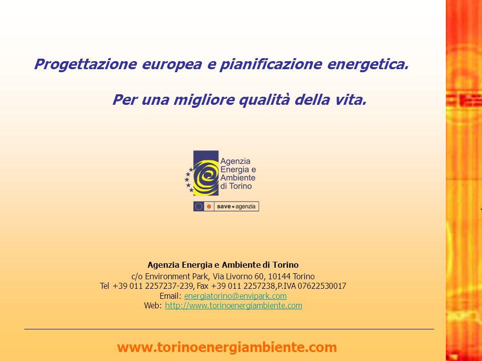 Progettazione europea e pianificazione energetica. Per una migliore qualità della vita. www.torinoenergiambiente.com Agenzia Energia e Ambiente di Tor