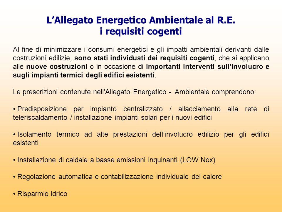 L'Allegato Energetico Ambientale al R.E. i requisiti cogenti Al fine di minimizzare i consumi energetici e gli impatti ambientali derivanti dalle cost