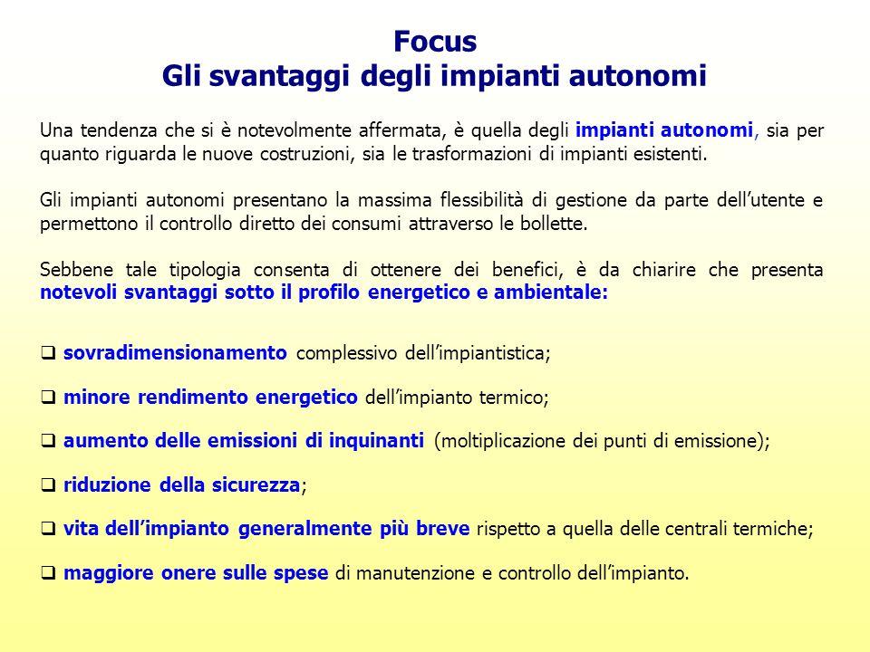 Focus Gli svantaggi degli impianti autonomi Una tendenza che si è notevolmente affermata, è quella degli impianti autonomi, sia per quanto riguarda le