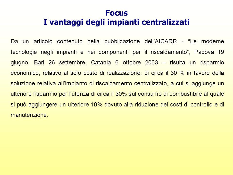"""Focus I vantaggi degli impianti centralizzati Da un articolo contenuto nella pubblicazione dell'AICARR - """"Le moderne tecnologie negli impianti e nei c"""