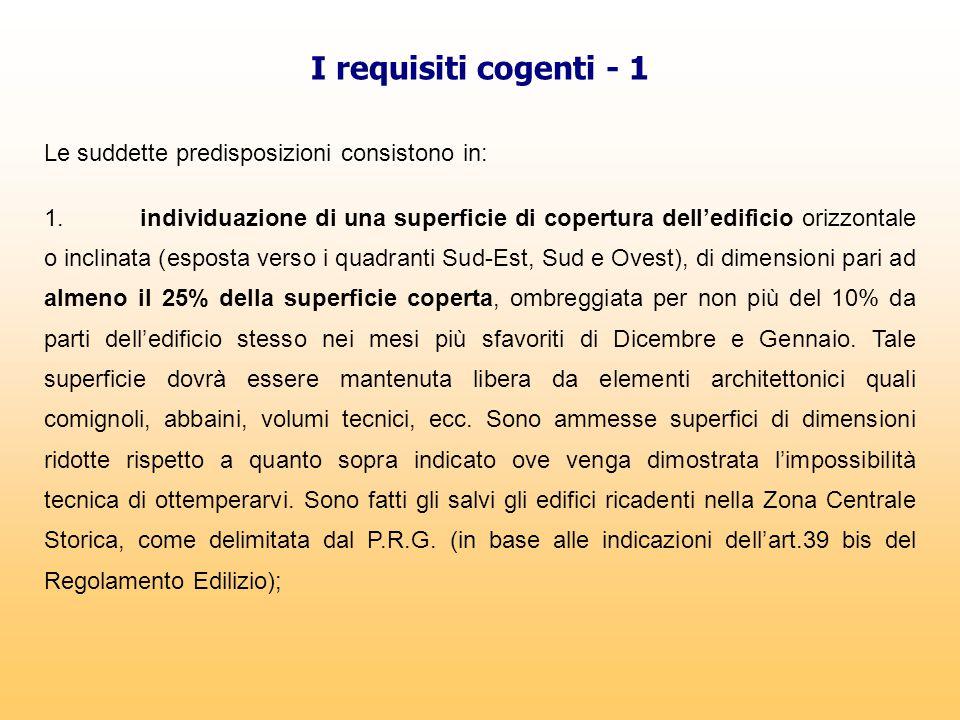 I requisiti cogenti - 1 Le suddette predisposizioni consistono in: 1.individuazione di una superficie di copertura dell'edificio orizzontale o inclina