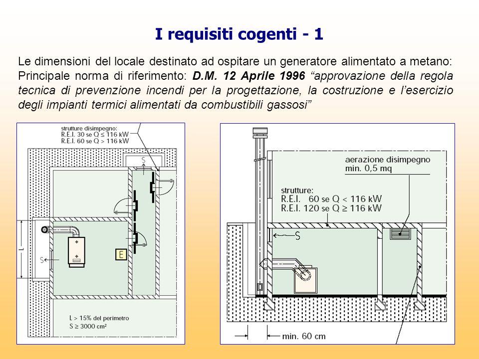 I requisiti cogenti - 1 Le dimensioni del locale destinato ad ospitare un generatore alimentato a metano: Principale norma di riferimento: D.M. 12 Apr