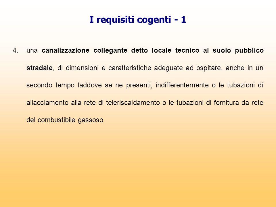I requisiti cogenti - 1 4. una canalizzazione collegante detto locale tecnico al suolo pubblico stradale, di dimensioni e caratteristiche adeguate ad