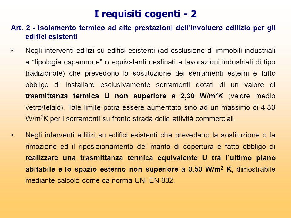 I requisiti cogenti - 2 Art. 2 - Isolamento termico ad alte prestazioni dell'involucro edilizio per gli edifici esistenti Negli interventi edilizi su