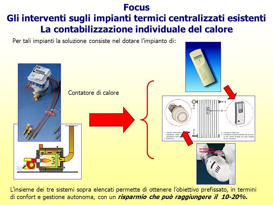 Focus Gli interventi sugli impianti termici centralizzati esistenti La contabilizzazione individuale del calore Per tali impianti la soluzione consist