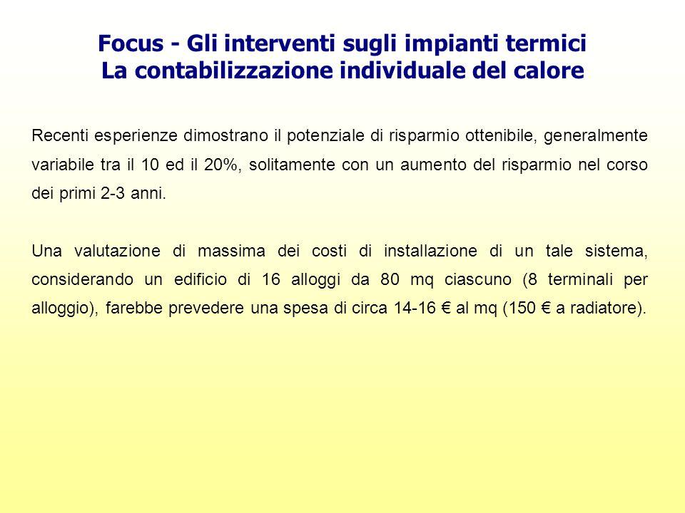 Focus - Gli interventi sugli impianti termici La contabilizzazione individuale del calore Recenti esperienze dimostrano il potenziale di risparmio ott