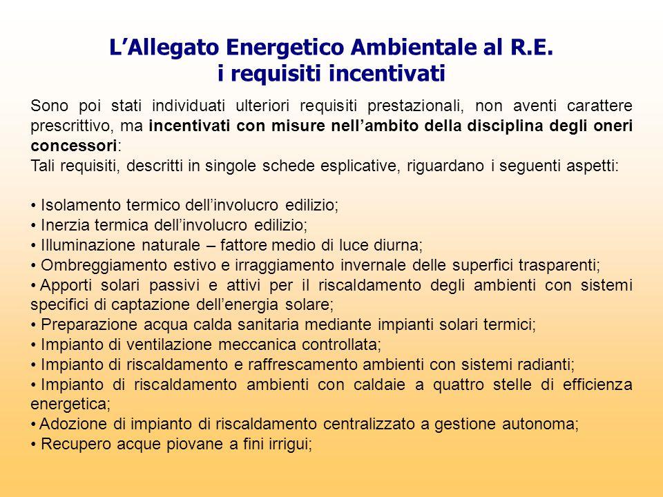 L'Allegato Energetico Ambientale al R.E. i requisiti incentivati Sono poi stati individuati ulteriori requisiti prestazionali, non aventi carattere pr