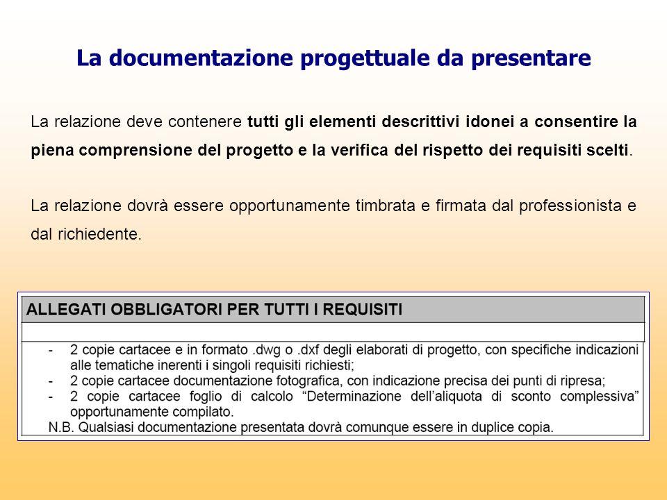 La documentazione progettuale da presentare La relazione deve contenere tutti gli elementi descrittivi idonei a consentire la piena comprensione del p