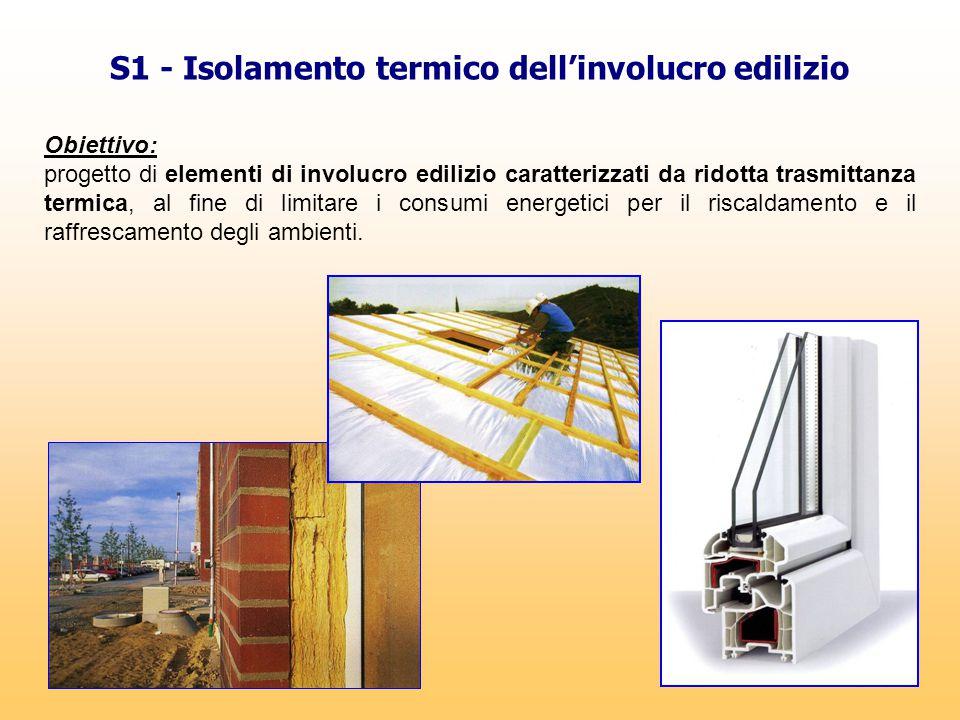 S1 - Isolamento termico dell'involucro edilizio Obiettivo: progetto di elementi di involucro edilizio caratterizzati da ridotta trasmittanza termica,