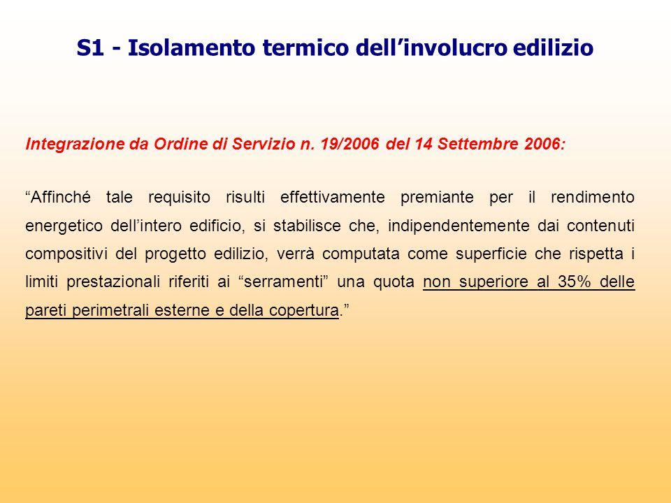 """Integrazione da Ordine di Servizio n. 19/2006 del 14 Settembre 2006: """"Affinché tale requisito risulti effettivamente premiante per il rendimento energ"""