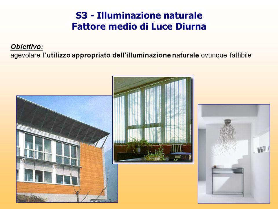 S3 - Illuminazione naturale Fattore medio di Luce Diurna Obiettivo: agevolare l'utilizzo appropriato dell'illuminazione naturale ovunque fattibile